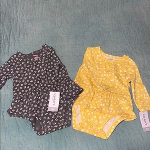 Carter's Set of Two Long Sleeve Onesies Sz 3m
